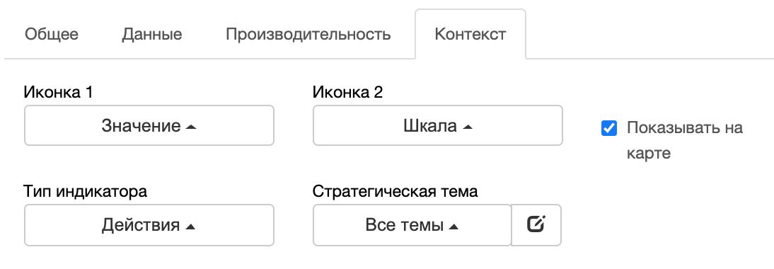 Вкладка контекста: выберите тип показателя